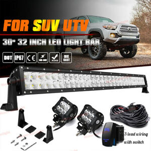 For 2005 15 Toyota Tacoma 30 32 Inch Led Offroad Light Bar Front Hidden Bumper