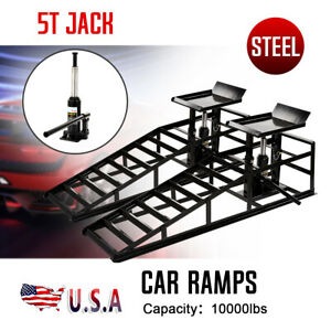 A Pair Auto Car Service Ramps Lifts Heavy Duty Hydraulic Lift Repair Frame Black