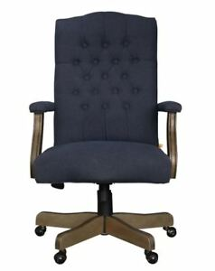 Cute Desk Chair Upholstered Navy Blue Executive Furniture High Back Wood Frame