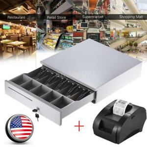 5 Bill 5 Coin Cash Register Drawer Box usb 58mm Pos Thermal Dot Receipt Printer