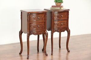 Pair Of French Style Vintage Carved Walnut Burl Nightstands 29443
