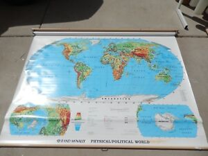 Rand Mcnally Physical Political Classroom School Wall Pull Down World Map 70x52
