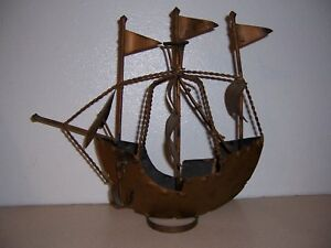 Vtg 13 Metal Model Sailing Ship Maritime Nautical Decor