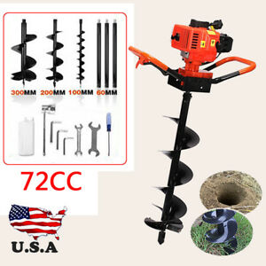 72 Cc 3kw Petrol Gas Powered Earth Auger Post Hole Borer Ground Drill 3 Bits 52