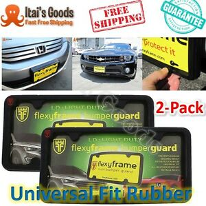 License Plate Frame Front Bumper Guard Car Protector Universal Fit Rubber 2 pack