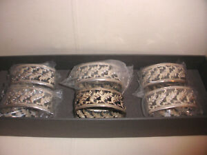 Vintage Lot Of 6 Rare Sterling Silver Buccellati Napkin Rings Open Work With Box