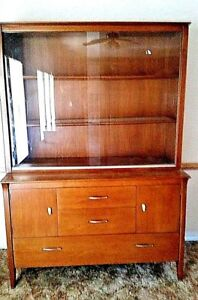 Price Drop Mid Century Modern Drexel Profile Walnut Chinahutch By John Van Koert