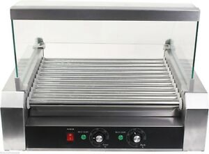 Commercial 30 Hot Dog Sausages 11 Roller Grill Bbq Cooking Roast Cooker Machine