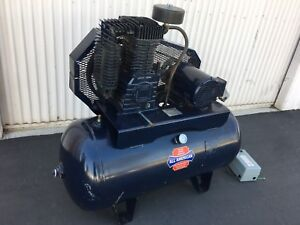 All American 5 Hp Air Compressor Horizontal 60 Gal Tank 220 440v 3phase blue