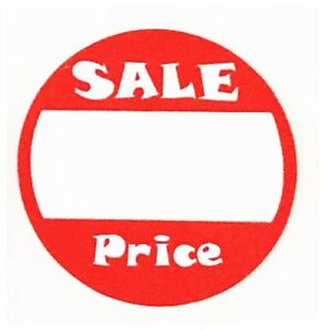 500 Red White Adhesive Labels sale Garage Price Tags Stickers 1 Inch Round