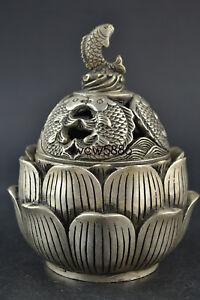 Collectible Old Tibet Silver Hollow Out Fish Lotus Buddhism Incense Burner Nr