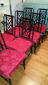 8 Faux Bamboo Chinese Chippendale Chairs Drexel Quality Heavy Dining Chairs Blak