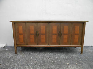 Mid Century Hollywood Regency Long Distressed Walnut Dresser By White 2090a