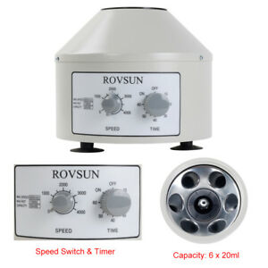 4000rpm 110v Electric Centrifuge Machine 0 60min Timer 6x20ml Rotor