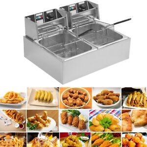 20l Dual Tanks Electric Deep Fryer Commercial Tabletop Fryer yasket Scoop 5k