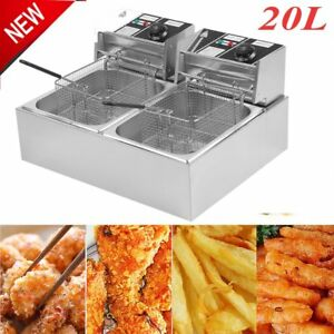 5kw Deep Fryer Electric Commercial Tabletop Restaurant Frying W Basket Scoop Sk