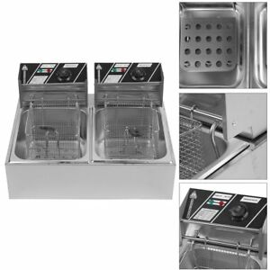 5000w Electric Countertop Deep Fryer Dual Tank Commercial Restaurant Steel 20l K