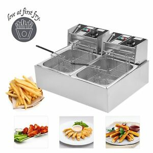 20l Commercial Deep Fryer W Timer And Drain Fast Food French Frys Electric Sk