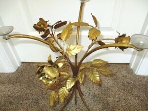 Antique Gold Tole Metal Cut Flowers Roses Leaves Italian Style Tray Stand