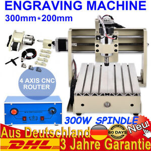 Portable Cnc Router 4 Axis 300w 3020 Woodworking Engraving Machine With Software