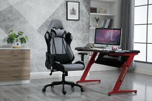 Ergonomics Racing Chair Polyester Back Adjustable With Headrest Waist Cushion