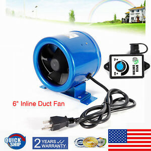 350cfm 6 Inch Inline Exhaust Cooling Duct Fan Vent Blower W speed Controller Us