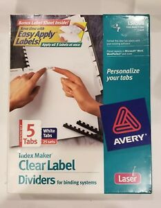 Avery Unpunched Clearlabel Dividers 5 tab 25 Sets 11443 Lsk5ub