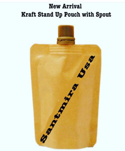 Stand Up Spout Liquid Bag Flask Pouch With Cap Kraft Brown Food Grade