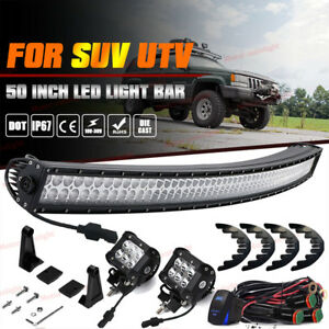 50 Curved Led Light Bar 4 Pods Cube Plug Play Wiring Jeep Grand Cherokee Zj