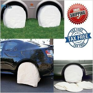 Set Of 4 Canvas Wheel Tire Covers For Rv Auto Truck Car Camper Trailer 28 Inch