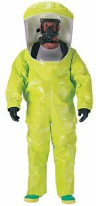 Dupont Level A Rear entry Encapsulated Suit Lime Yellow Size M Pvc