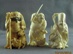 Japanese Okimono Happy Gods Set Of 3 Signed All Same Carver
