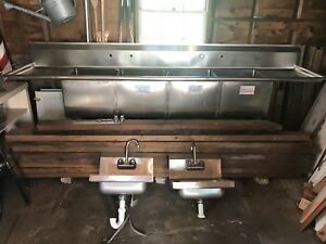 Commercial Stainless Steel Sink 4 Bays Dual Drain Boards Pvc Plumbing