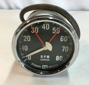 Stewart Warner Vintage Tachometer Gauge Rpm Gasser Hot Rat Rod Custom J14787