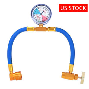 R 134a Recharge Hose Measuring Kit A C Car Auto Air Conditioning Pressure Gauge