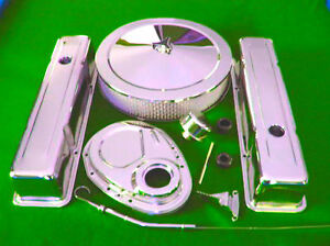 Sbc Small Block Chevy Chrome Dress Up Tall Valve Covers Timing Air Cleaner