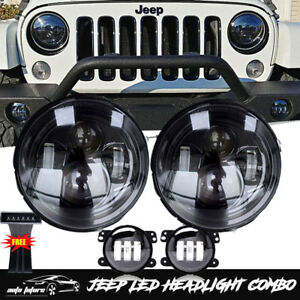 07 17 Jeep Wrangler Jk 7 Cree Drl Led Headlight Fog Turn Signal Lamp Combo Kit