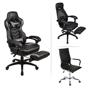 Executive Swivel Office Chair Ergonomic Adjustable Computer Desk Task Seat Black