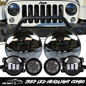 7 Led Headlight 4 Fog Lights Turn Signal Combo Kit For 07 17 Jeep Wrangler Jk