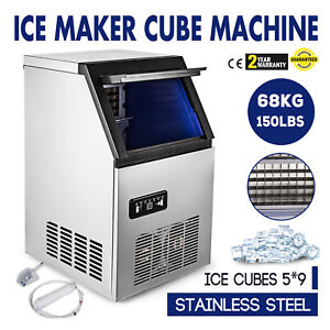 Bullet shaped Ice Cube Maker 150lbs day Freestanding Portable Electric Machine
