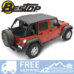 Bestop Header Bikini Safari Top Black For 2007 2009 Jeep Wrangler Jk 4 Door