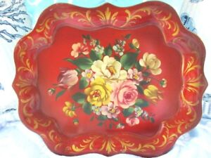 Antique Red Chippendale Tole Metal Hand Painted Victorian Flowers Designer Tray