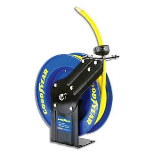 Goodyear Steel Retractable Air Compressor water Hose Reel With 3 8 In X 25 Ft