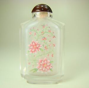 Antique Chinese Reverse Painted Glass Snuff Bottle Carnelian Top