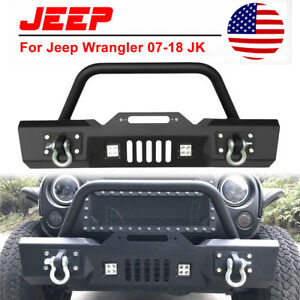 For 87 06 Jeep Wrangler Yj Tj Front Bumper Winch Plate D Rings Led Lights A