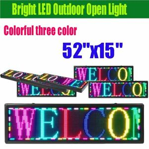 Led Sign 52 X 15 Outdoor Programmable Scroll Message Board 7 Color Open Neon