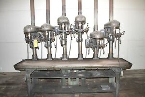 Delta 6 Head Gang Production Drill Press 6 Spindle W Cast Iron Table Runs Well