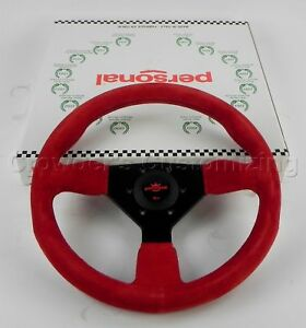 Personal 330mm Grinta Steering Wheel Red Suede With Black Stitching Black Spokes