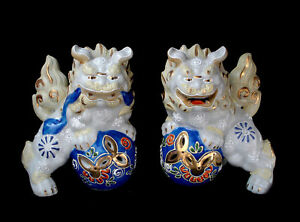 5 Japanese Showa Period Kutani Pair Miniature Foo Dog Shishi Tamper Lion