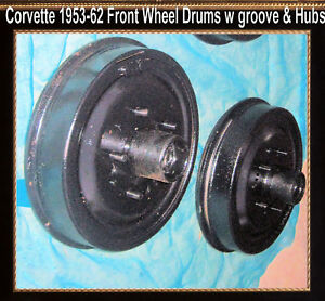 Corvette 1954 1956 1957 1958 1959 1960 1962 Brake Drum Front Drums W Wheel Hubs